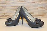 Туфли женские серые на каблуке Т629, фото 4