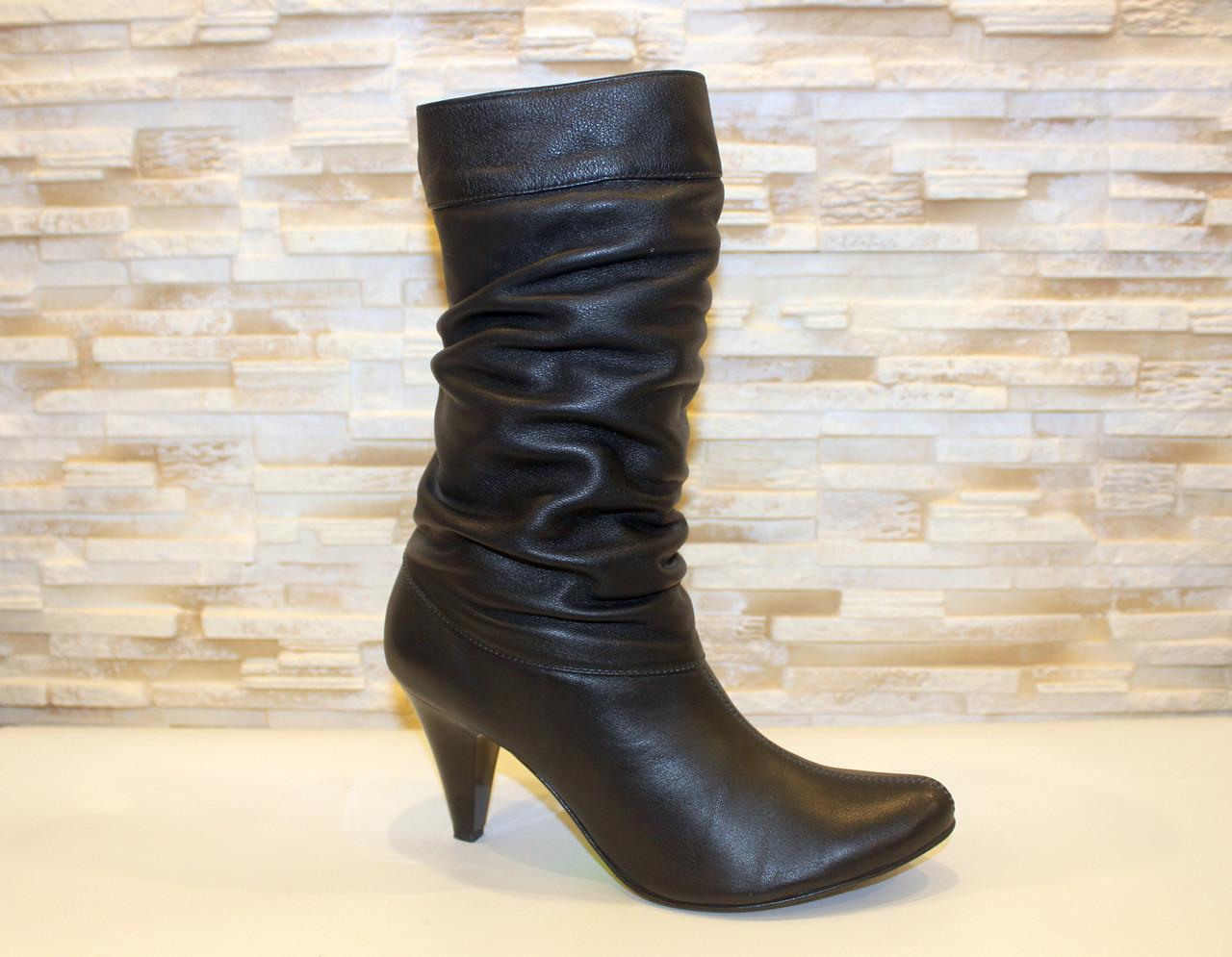 Сапоги женские черные на каблуке натуральная кожа Д516