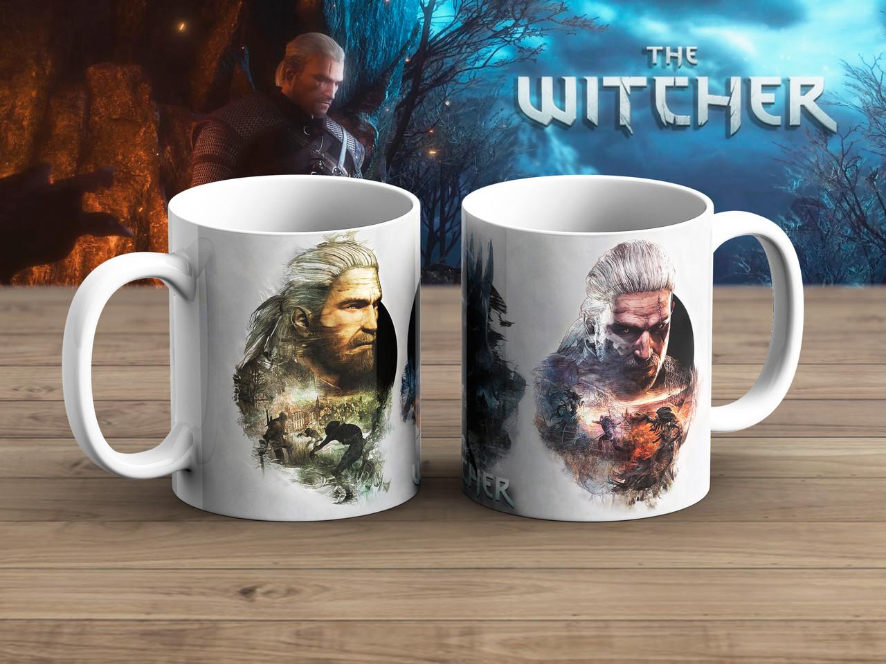 Чашка лица на белом Ведьмак / Тhe Witcher