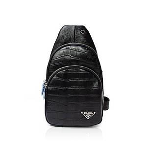 Рюкзак-слинг от Prada натуральная кожа Черный AAA Copy