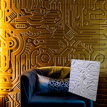"""Гипсовая 3d панель для стен """"Экс Машина"""" (декоративная стеновая 3д панель)"""