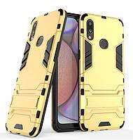 Чехол Hybrid case для Samsung Galaxy A10s (A107) бампер с подставкой золотой