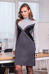 Тепла вязана сукня Конвертик (графіт, світло-сірий, чорний)