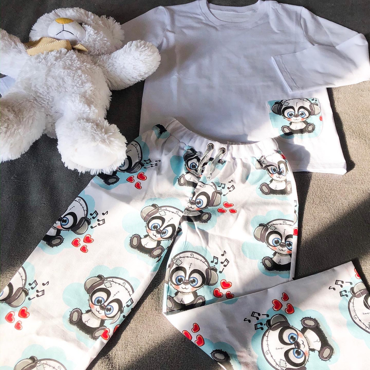 Детская хлопковая пижама с кофтой Панда 122 см