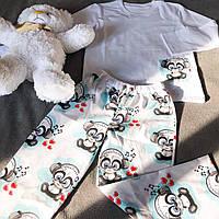 Детская хлопковая пижама с кофтой Панда 140 см, фото 1