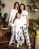Детская хлопковая пижама с кофтой Панда 146 см, фото 5