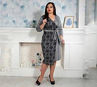 Теплое женское платье на запах, трикотаж ангора и гипюр,  р.50,52,54,56 св.серый (734) сукня