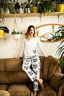 Женская хлопковая пижама с кофтой Панда XXL, фото 1