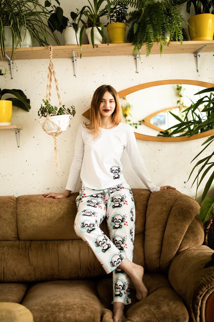 Женская хлопковая пижама с кофтой Панда XXL
