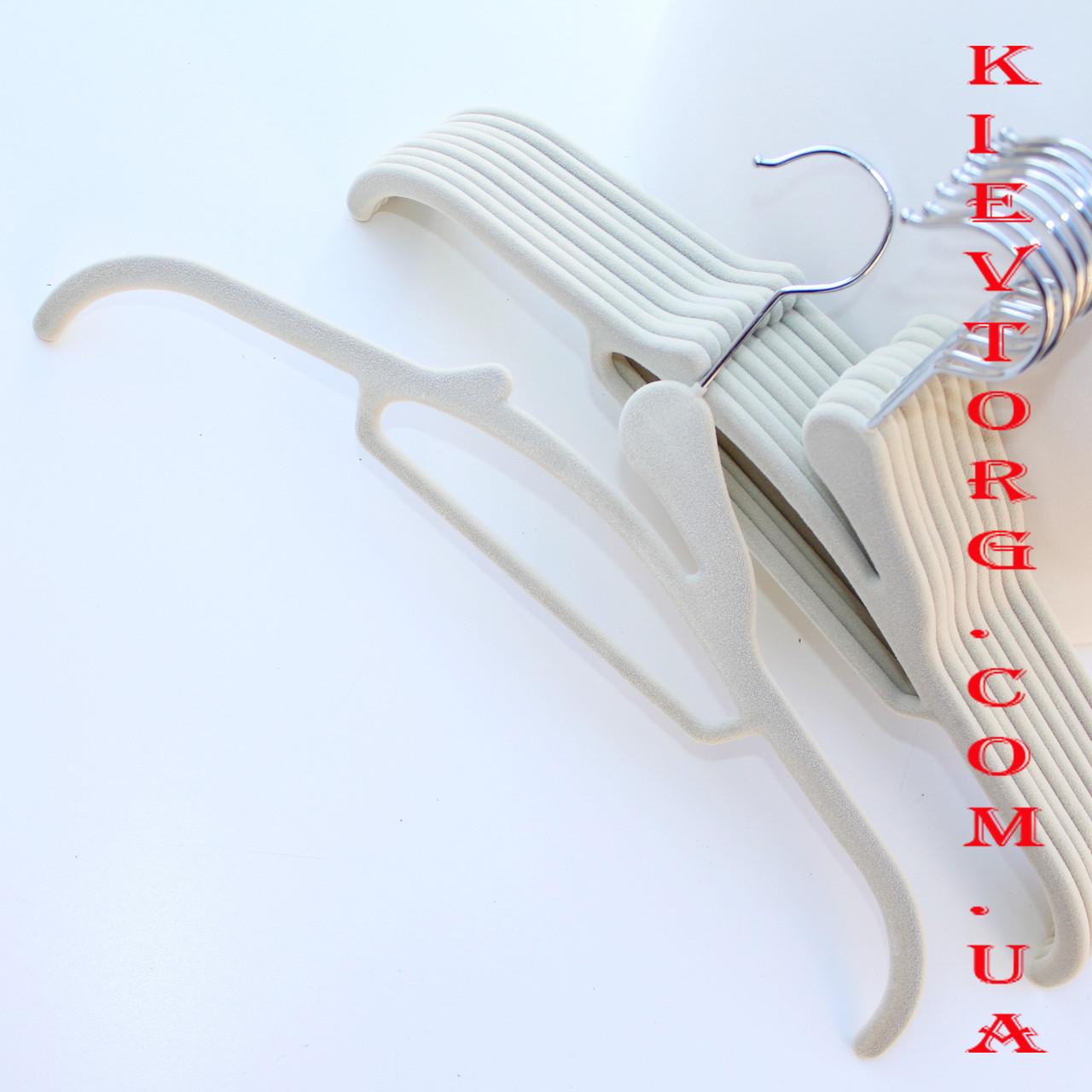 Плечики вешалки флокированные (бархатные, велюровые) бежевые, 41 см, 5 шт
