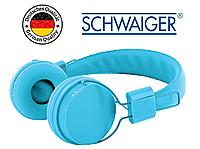 Наушники проводные Schwaiger KH510B с динамиком, плоский провод, оригинал, голубые
