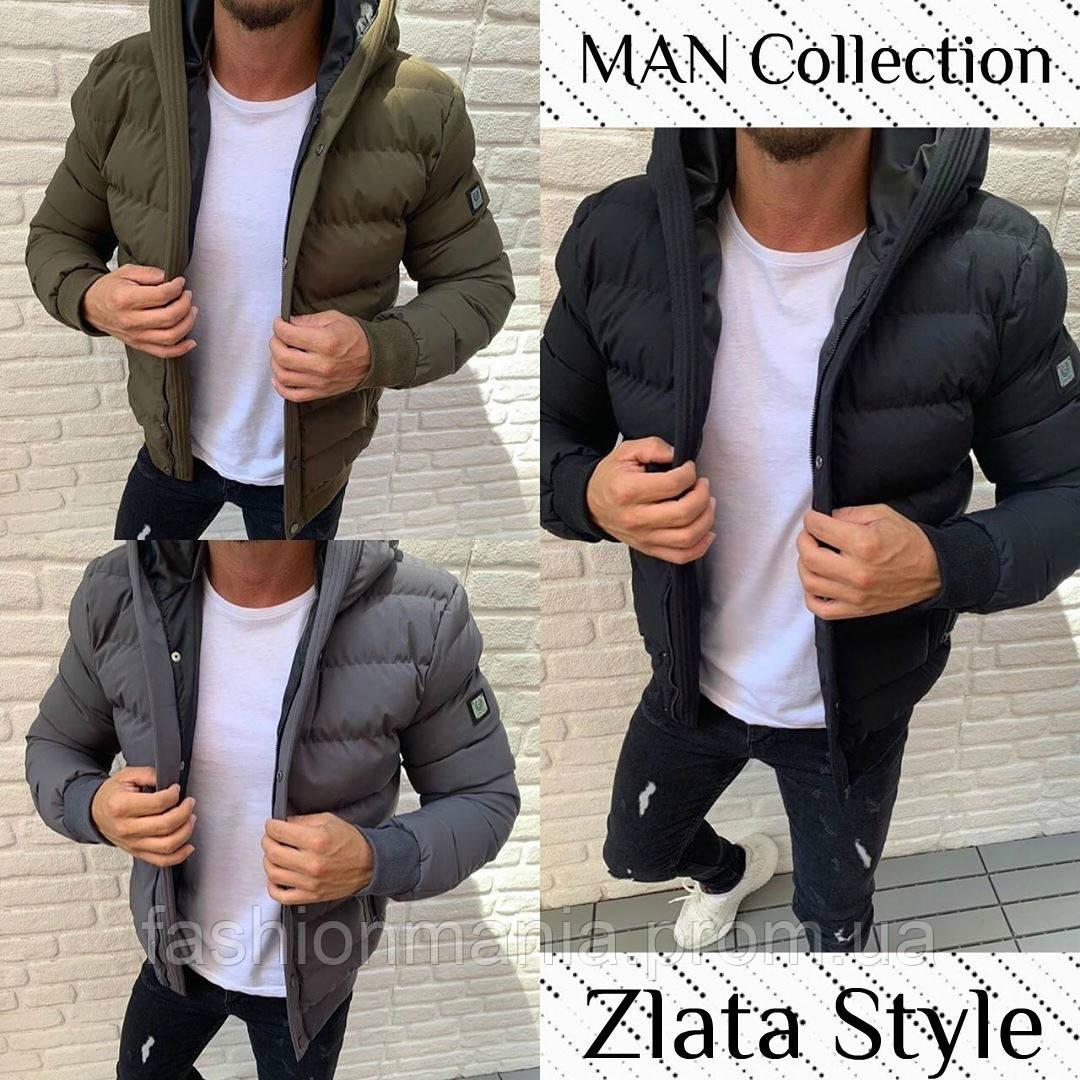 Куртка мужская зимняя стеганая с капюшоном