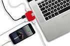 Компактний USB-хаб на 4 порти, червоний, фото 3