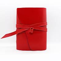 Кожаный блокнот COMFY STRAP В6 женский красный ручная работа В линию