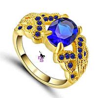 Посеребренное кольцо с синими стразами и камнями