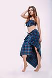 Синяя юбка в пол, асимметричная, на запах, в клеточку.  Шотландка., фото 4