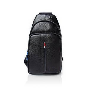 Рюкзак-слинг от Emporio Armani натуральная кожа Черный AAA Copy