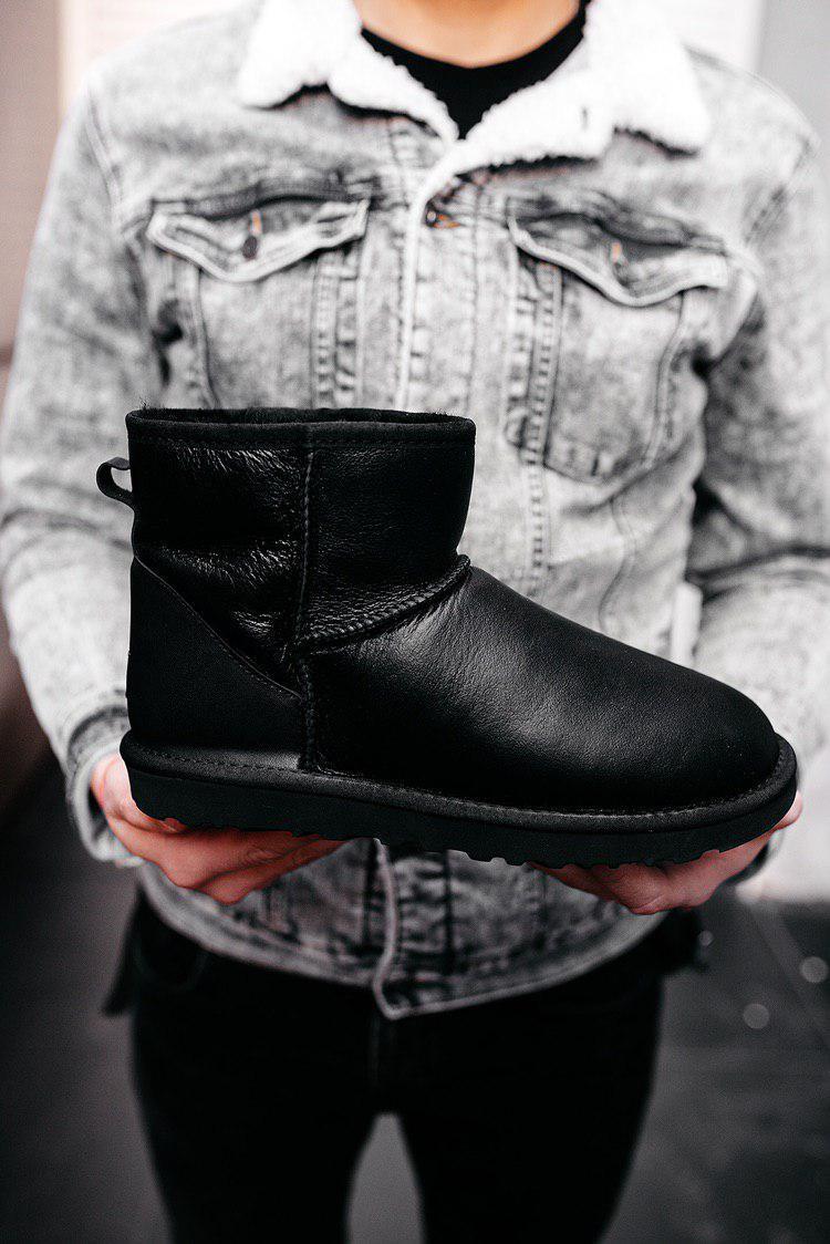 Угги ботинки мужские UGG Classic Mini черные зимние кожаные на меху теплые
