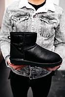 Угги ботинки мужские UGG Classic Mini черные зимние кожаные на меху теплые, фото 1