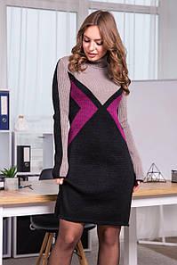 Тепла вязана сукня Конвертик (чорний, капучіно, темна фуксія)