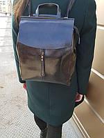 Кожаный женский рюкзак размером 28x36x10 см Черный