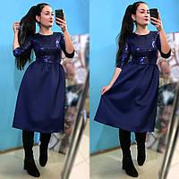 Расклешенное нарядное платье с пайетками
