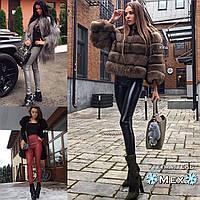 Женские зимние теплые кожаные лосины на меху черный бордо серый S М L