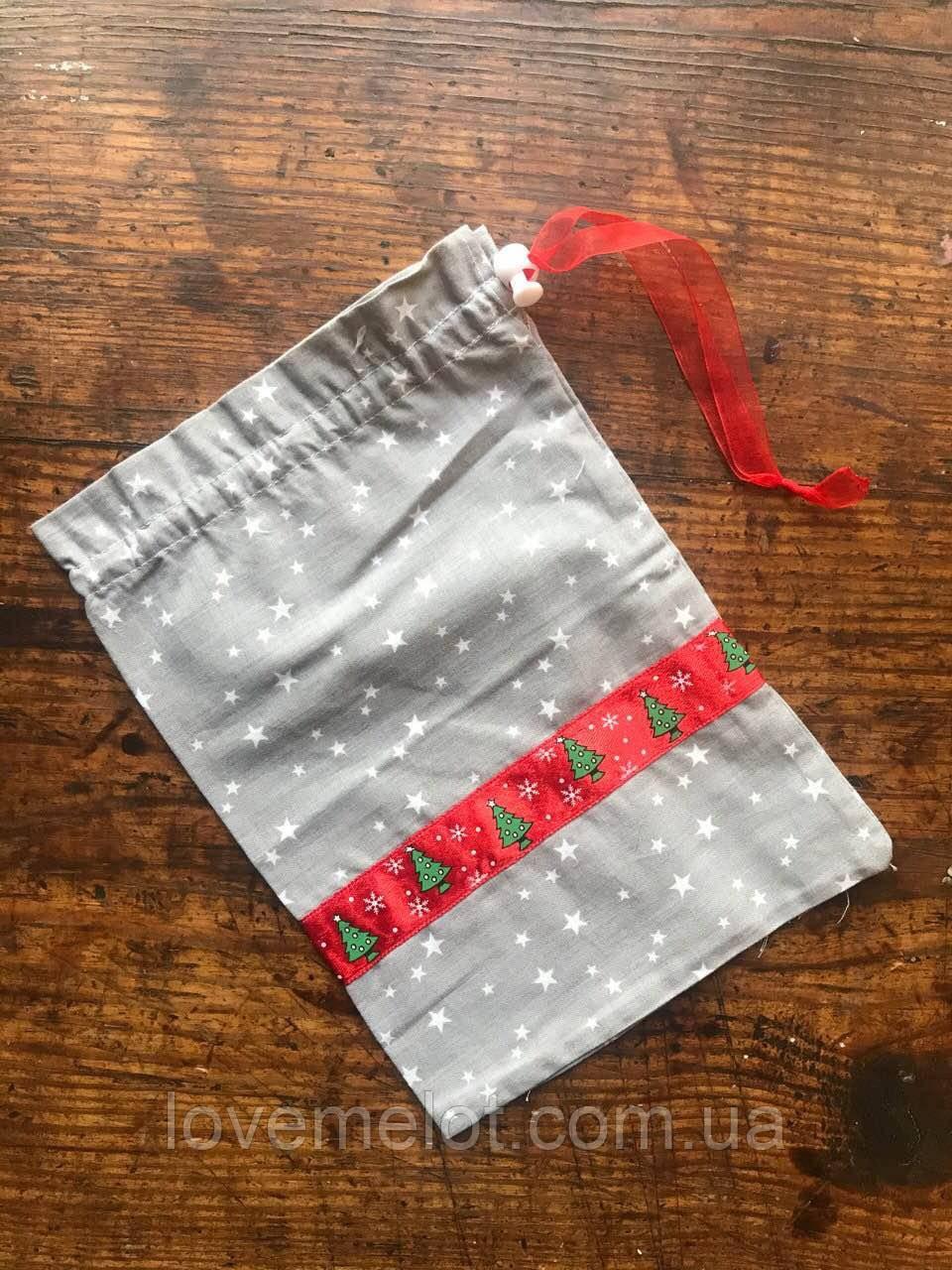 Праздничные мешочки для подарков, новогодняя упаковка, хлопковый мешочек многоразовый подарочный 20х30см