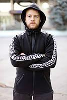 Кофта мужская с капюшоном черная Nike, толстовка с лампасами Найк