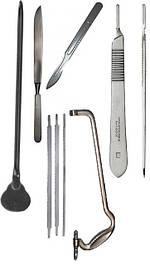 Скальпеля, леза, ручки для лез, ножі, зонди, пили, стернотом