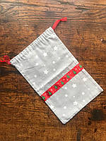 Праздничные мешочки для подарков, новогодняя упаковка, хлопковый мешочек многоразовый подарочный 17х30см
