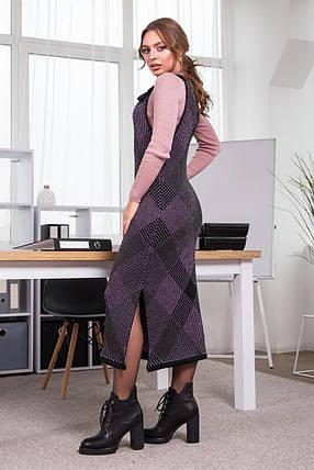 Тепла сукня-сарафан в клітинку Хлоя (чорний, бузковий, графіт), фото 2