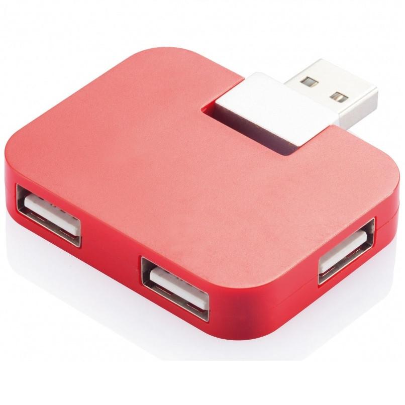 Компактний USB-хаб на 4 порти, червоний