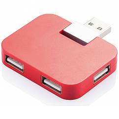 Компактный USB-хаб на 4 порта, красный