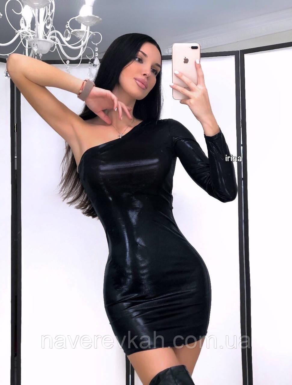 Женское платье с эфектом фольги черное серебро S-М М-L