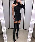 Женское платье с эфектом фольги черное серебро S-М М-L, фото 2