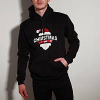 Мужской зимний худи с флисом теплый с капюшоном Cristmas черный