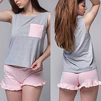 """Пижама женская """"Cерая майка и Розовые шорты"""" Трикотаж"""