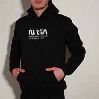 Мужской зимний худи с флисом теплый с капюшоном в стиле Nasa черный