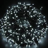 Внутренняя Гирлянда светодиодная нить 40м, 1000 led  черный провод - цвет белый-холодный