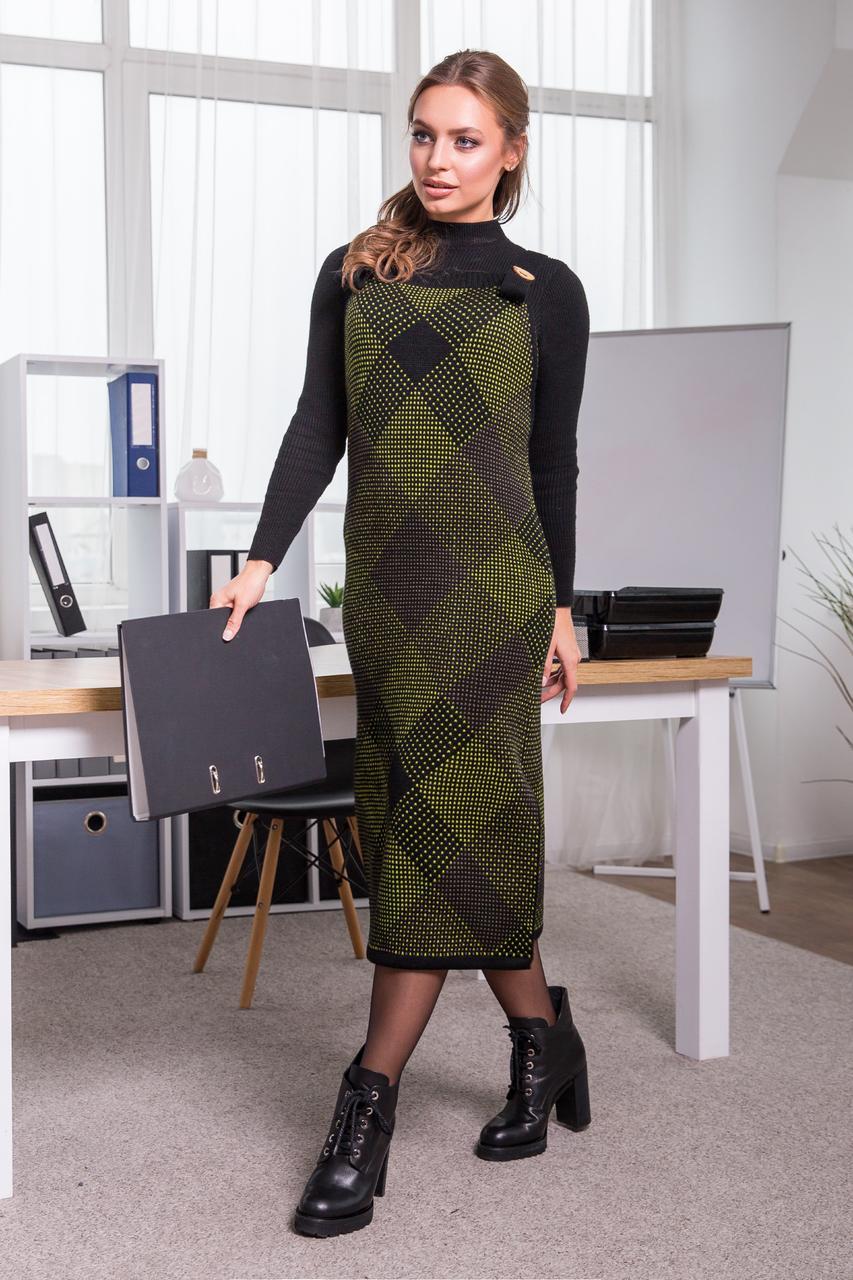 Тепла сукня-сарафан в клітинку Хлоя (чорний, салат, капучіно)