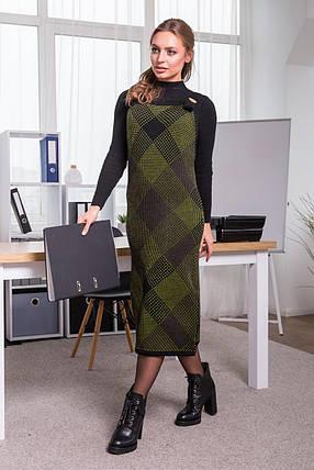 Тепла сукня-сарафан в клітинку Хлоя (чорний, салат, капучіно), фото 2