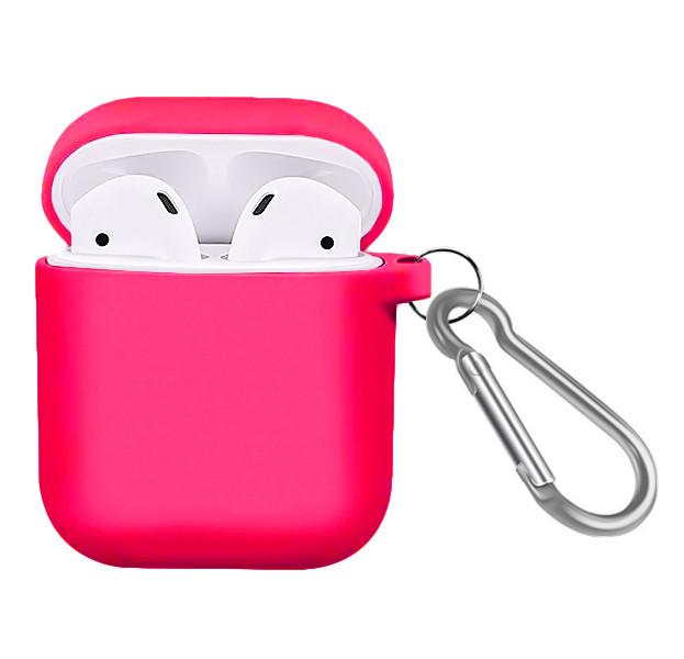 Силиконовый чехол с карабином для наушников Airpods/Аналогов Pink