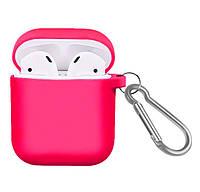Силиконовый чехол с карабином для наушников Airpods/Аналогов Pink, фото 1