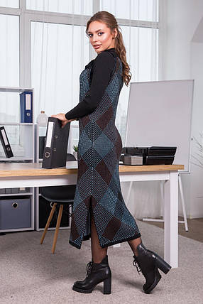 Тепла сукня-сарафан в клітинку Хлоя (чорний, блакитний, шоколад), фото 2