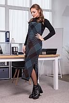 Тепла сукня-сарафан в клітинку Хлоя (чорний, блакитний, шоколад), фото 3