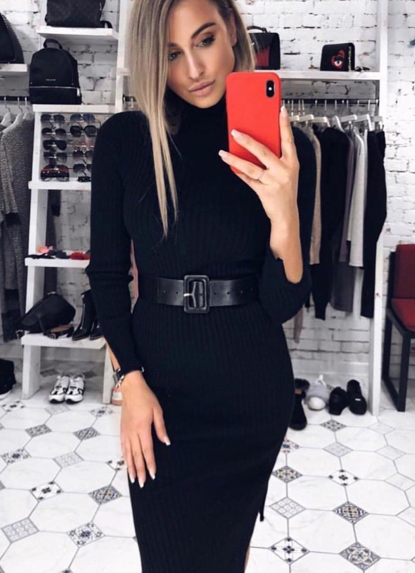 Платье . Цвет черный. коричневый (6010)