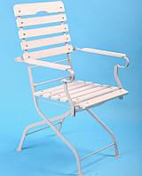 Стул кресло для террасы раскладной Белый