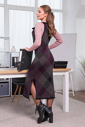 Тепла сукня-сарафан в клітинку Хлоя (чорний, капучіно,темна фусія), фото 2