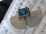 Кольцо серебряное с золотой вставкой и куб.цирконием, фото 2